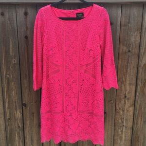 "Laundry By Shelli Segal ""HOT PINK"" Lace Dress 6"